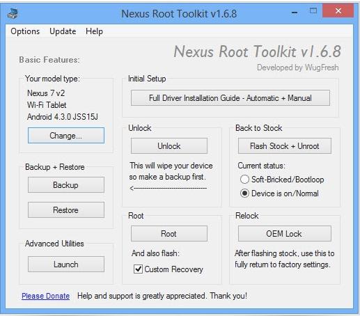 утилита Nexus Root Toolkit for Android 4.3
