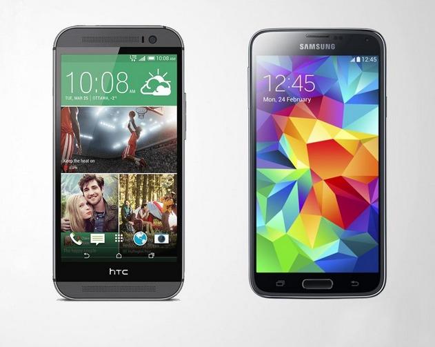 Смартфон HTC One (M8) и Samsung Galaxy S5