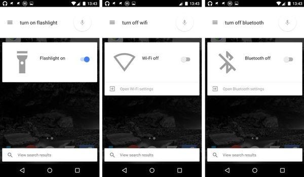 включение Wi-Fi, Bluetooth или фонарика голосом в Google Now