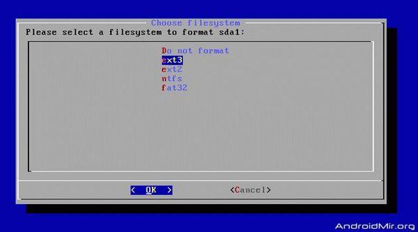 выбираем тип файловой системы