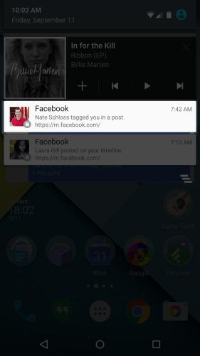 Уведомления Facebook на Андроид