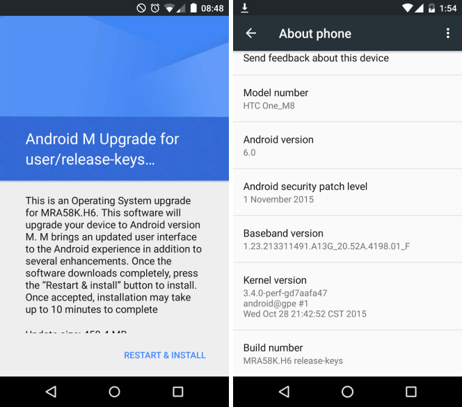 HTC One M8 Google Play Edition получает Android 6.0
