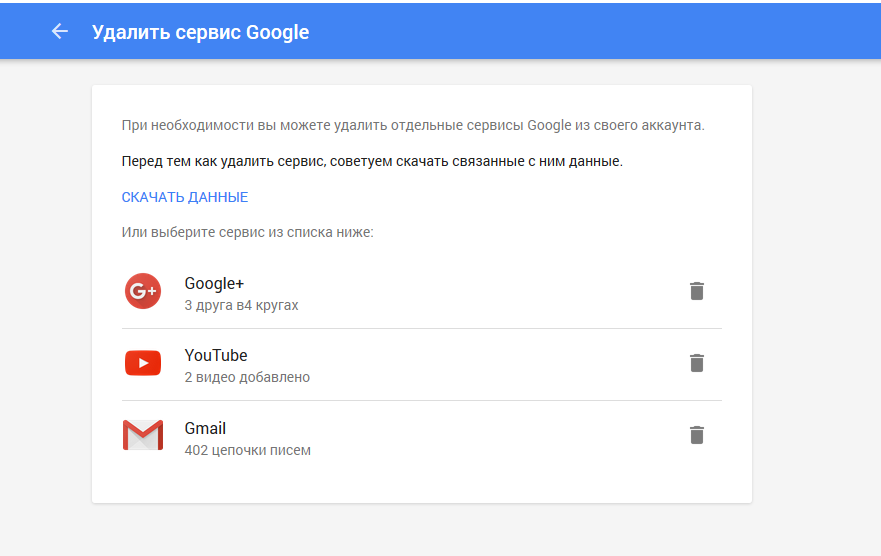 удалить Gmail аккаунт