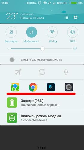 Панель уведомлений на Андроид