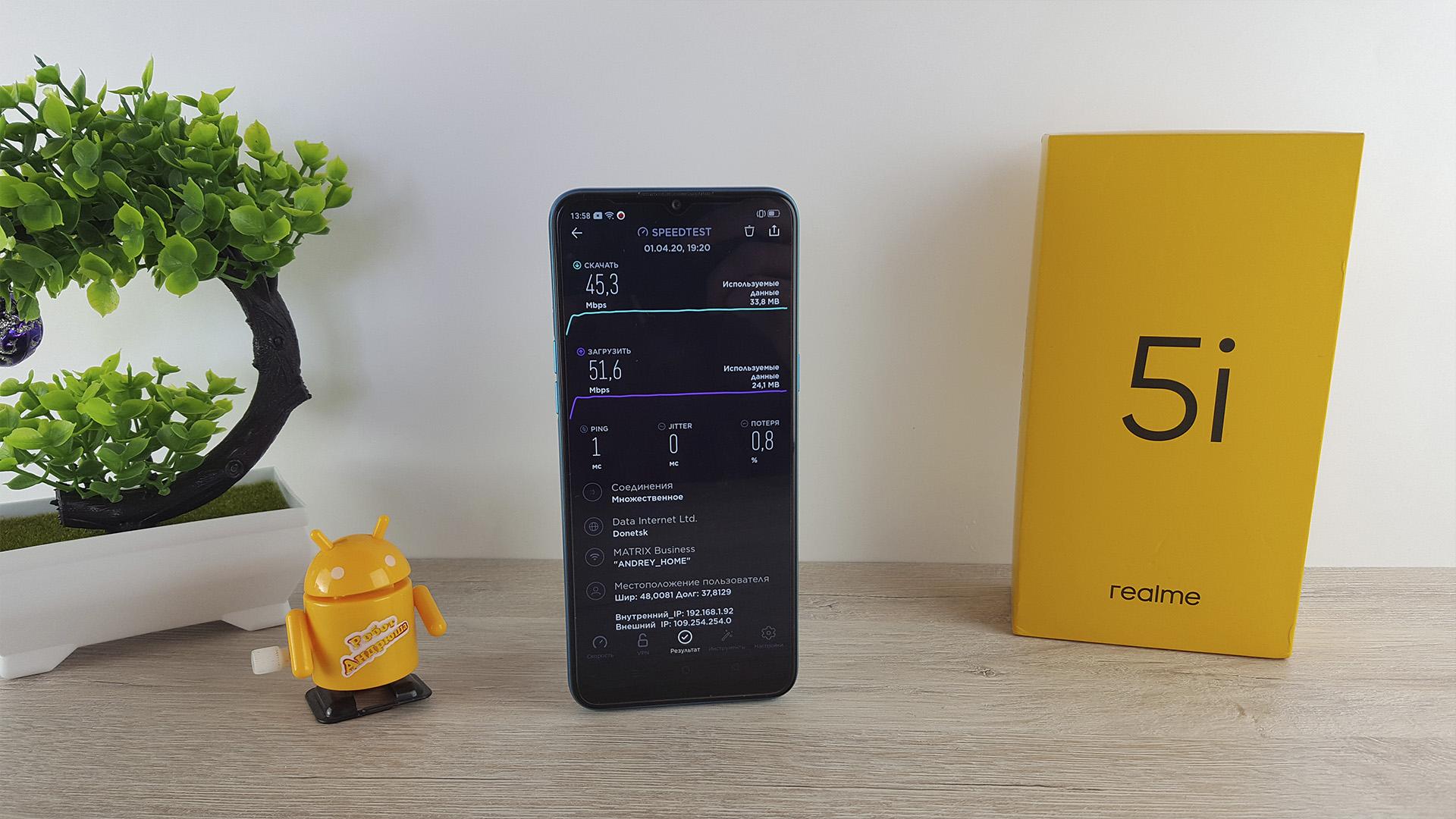 Обзор Realme 5i. wi-Fi 4F speedtest networkjpg