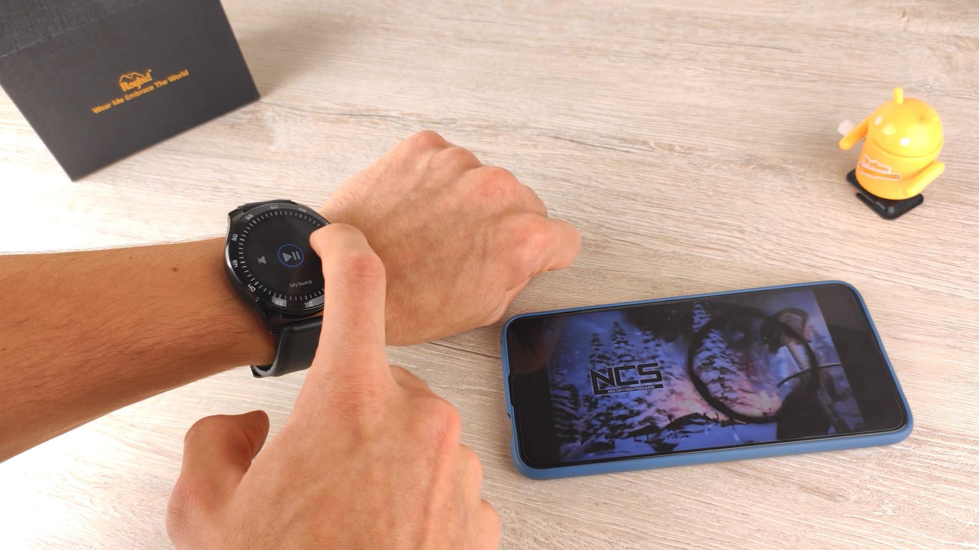 управление музыкой на smart watch Rogbid GT