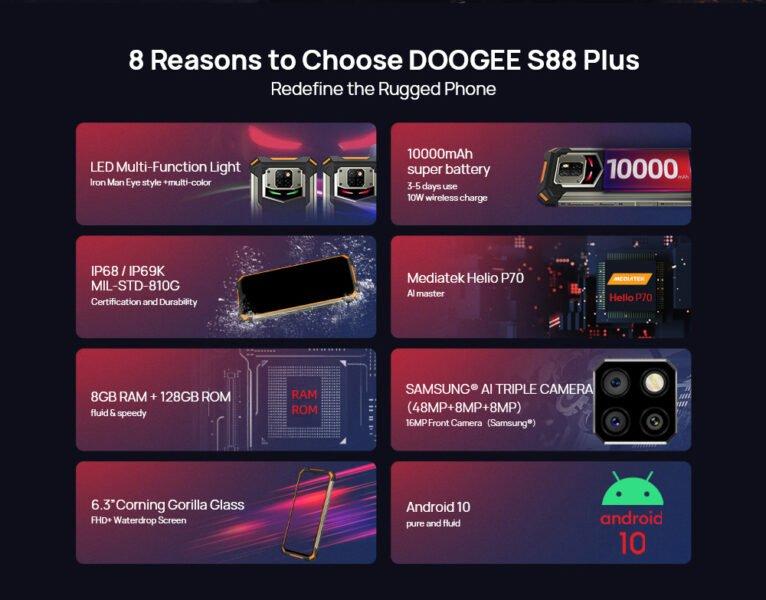 doogee s88 plus фишки особенности