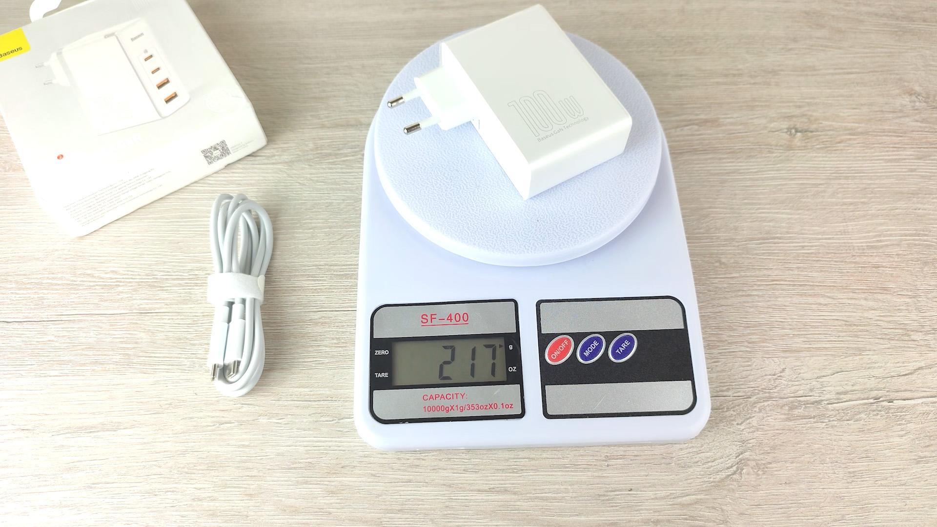 Baseus GaN 100W вес 217 грамм